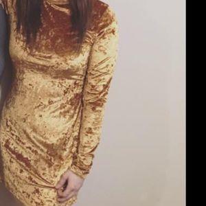 Urban Outfitters Dresses - Long sleeve velvet orange dress